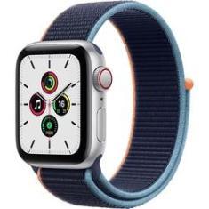 Apple Watch SE 40mm Caixa Prateada de Alumínio e Pulseira Caixa Prateada de Alumínio e Pulseira Marinho