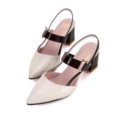 Imagem de Sandálias femininas verão novo padrão de salto grosso cúspide oco sapatos de salto alto