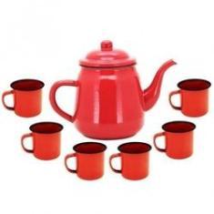 Imagem de Jogo Conjunto Bule Para Café Esmaltado 1700ml + 6 Xícaras 70ml Vermelho