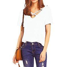 Imagem de Frente Cruz Strap V-neck T-shirt Mulheres Sólidos shirt cor de manga curta soltasTopking