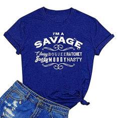 Imagem de Camiseta feminina com estampa divertida ZYX I'm A Savage Classy Bougie Ratchet Sassy Moody Nasty, , XX-Large