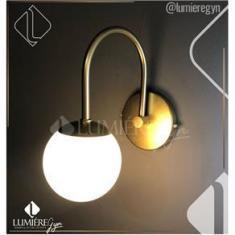 Imagem de Arandela Curva Dourada Fosco Globo Leitoso  - Dual Id 15