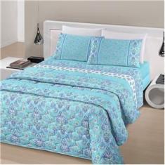 Imagem de Jogo de cama casal linha Royal Plus Duplo 100% algodão estampa Jaipur na cor turquesa - Santista