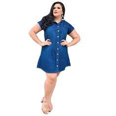 Imagem de Vestido Jeans Sem Licra Plus Size Curto 38 ao 50