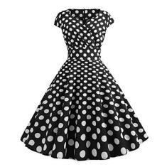 Imagem de Vestido feminino vintage anos 50 retrô com estampa de bolinhas, sem mangas, estilo túnica, vestido rodado, elegante, vestido maxi, , XX-Large