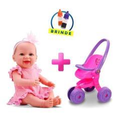 Imagem de Boneca Bebê Estilo Reborn Menina Dengo Carrinho Passeio