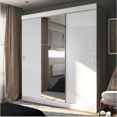 Guarda-Roupa Casal 3 Portas Gavetas com Espelho 100% Mdf Emp Panorama Móveis