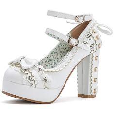 Imagem de Sapatos femininos Saralris Lolita, vintage salto alto grosso, fivela no tornozelo, laço doce Kawaii Mary Jane Cosplay, , 6.5