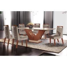 Imagem de Conjunto Sala De Jantar Mesa Com Tampo De Vidro Safira 6 Cadeiras Atena Lj Móveis Castanho Premio/Off White/Pena Bege