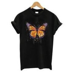 Imagem de Blusa baby look camiseta  algodao borboleta laranja