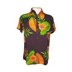 Imagem de Camisa Havaiana Estampa Floral Masculina Manga Curta Tecido Viscose (Pessego , G)