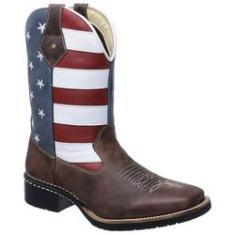 Imagem de Bota Botina Texana Americana Eua Masculina Bico Quadrado Couro Legítimo