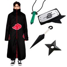 Imagem de Kit Capa Akatsuki Bandana Colar Kunai Shuriken Naruto Cosplay Itachi Manto