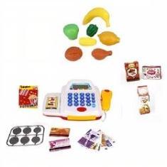 Imagem de Kit Mini Mercado Caixa Registradora Infantil Scanner Som Luz Calculadora Mercadinho