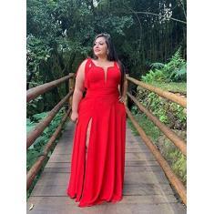 Imagem de Vestido de Madrinha de Casamento Civil Plus Size Elegante Com Decote e Fenda Lateral (, P)