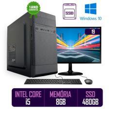 Imagem de Computador PC CPU Completo Intel Core i5 8GB SSD 480GB Windows 10 Monitor 19 LED HDMI Kit Best PC