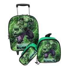 Imagem de Kit Mochila Infantil Escolar Com Rodinhas Hulk Grande