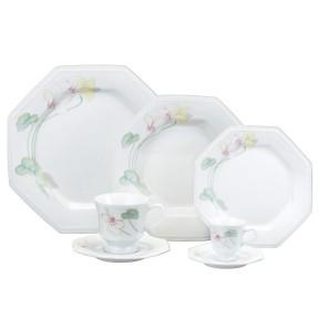 Aparelho de Jantar Oitavado de Porcelana 42 peças - Classic Encanto Schmidt
