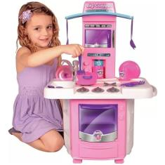 Imagem de Cozinha Infantil Menina Completa Pia Fogão Forno Sai Água