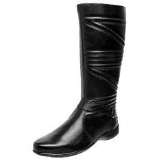 Imagem de Bota Feminina Rasteira Ousy Shoes Cano Médio Tiras Couro