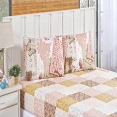 Imagem de Jogo de cama estampado Bouti 3 peças casal queen patchwork rose