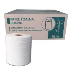Imagem de Papel Toalha Bobina 100% Celulose 20cm X 200m - 6 Rolos Indaial Fit
