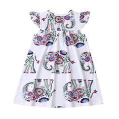 Imagem de Jshuang Vestido infantil para meninas em patchwork, arco-íris/leopardo/desenho de elefante, manga voa, vestido de princesa 18 meses a 6 anos