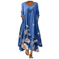 Imagem de STKOOBQ Vestido feminino casual de verão, vestido feminino casual com estampa floral, gola redonda, manga comprida, irregular, solto, , XXG
