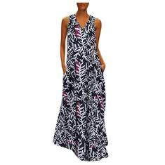 Imagem de SLENDIPLUS Vestido feminino de verão, plus size, casual, com estampa boho, sem mangas, com bolso, solto, longo para praia, , XXG