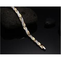 Imagem de Pulseira Bracelete Magnética Terapêutica Filetes Banhados a ouro 18k Regulável