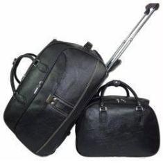 Imagem de Kit 2 Malas Viagem Bolsa Masculina Grande Couro Resistente C/ Rodinhas