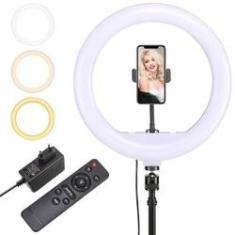 Kit Completo Ring Light Profissional 12 polegadas C/ Controle Remoto - 30cm C/ Tripé Universal