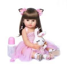 Imagem de Brastoy Bebê Reborn Boneca Menina 100% Silicone Olhos Castanhos Original 55cm