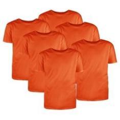 Imagem de Kit com 6 Camisetas Básicas Algodão Laranja Tamanho G