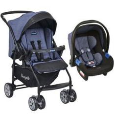 Imagem de Conjunto Carrinho de Bebê Travel System Reclinável Reversível Rio K De 0 a 15kg com Bebê Conforto Touring X De 0 a 13kg Burigotto Mesclado