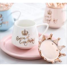Imagem de Xícara de cerâmica Crown Exquisite e elegante Xícara de Padrão Ouro Real 24K