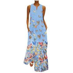 Imagem de Vestido feminino plus size com estampa de borboleta, vintage, diário, casual, sem mangas, boêmio, outono longo, , XXG