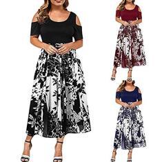 Imagem de Vestido longo feminino de verão plus size para convidada de casamento, feminino, sexy, ombro vazado, patchwork, floral, vestido longo, , XXG
