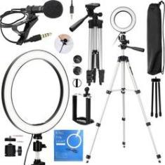 Imagem de Kit Youtubers Ring Light Anel Led Pedestal Grande Para Gravação Vídeo Acessórios Celular Universal Vlog Fotos Makeup