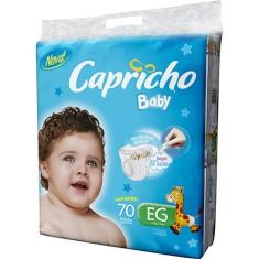 Fralda Capricho Baby Tamanho XG Super Jumbo 70 Unidades Peso Indicado 13 - 15kg