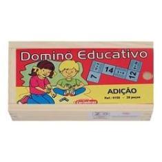 Imagem de Domino Educativo De Madeira Adição Pedagógico Carimbrás