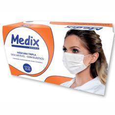 Máscara Cirúrgica Descartável Tripla Com Elástico - Cx C/ 50 Un - Medix