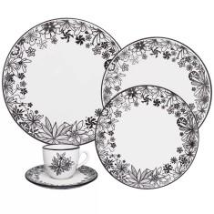 Aparelho de Jantar Redondo de Porcelana 30 peças - Floresta Negra Oxford Porcelanas
