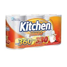 Imagem de Papel Toalha Kitchen Jumbo Folha Dupla - Pack com 3 rolos de 110 unidades de 19x22 cm cada
