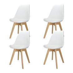 Imagem de Kit 4 Cadeiras Charles Eames Leda Design Wood Estofada Base Madeira Trato