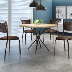 Imagem de Mesa Redonda 4 Lugares 80Cm Tampo Madeira Md02 Mais Decor Café/Siena