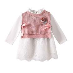 Imagem de LZH Bebê Meninas Vestido  de Algodão Roupas de Bebê 2 Peças de Malha saia Princesa Vestido Primavera