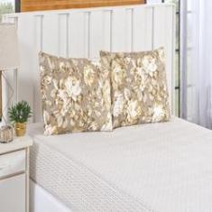 Imagem de Jogo de cama estampado Bouti 3 peças king size floral caqui