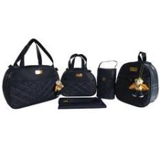 Imagem de kit bolsa redonda  com mochila de bebe saída de maternidade 5pçs