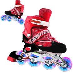 Imagem de Patins de rolos, 2 em 1 patins de 4 tamanhos ajustáveis para crianças e adultos